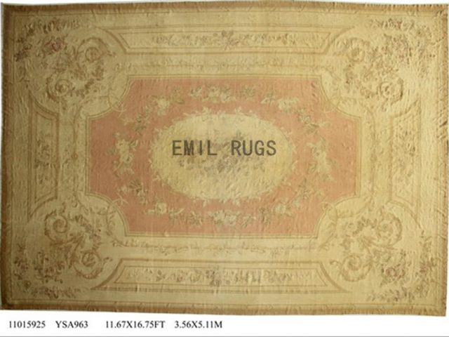 flat weave aubusson rug Oversized 11' X 16' Pink Field Ivory Border 100% New Zealand wool european handmade