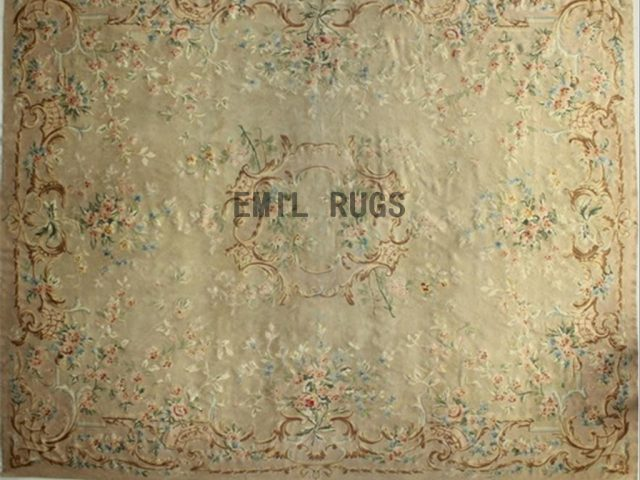flat weave aubusson carpets Oversized 12' X 14.6' Ivory Field Ivory Border 100% New Zealand wool european handmade