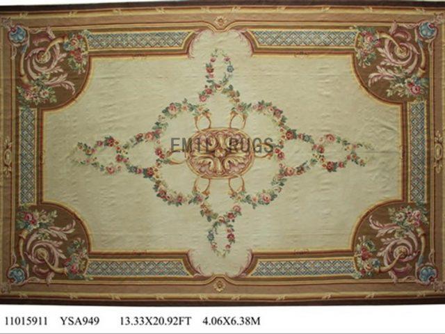 flat weave aubusson carpet Oversized 13' X 21' Ivory Field Beige Border 100% New Zealand wool hand woven
