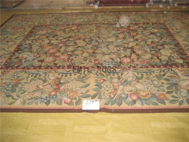 flat weave aubusson carpet 6' X 9' Black Field Ivory Border 100% New Zealand wool hand woven