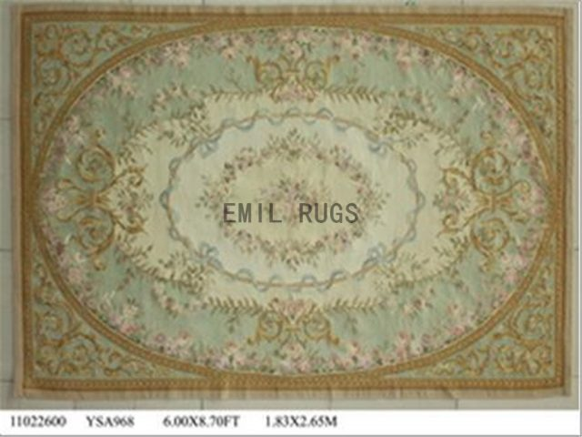 flat weave aubusson carpets 6' X 9' Ivory Field Green Border 100% New Zealand wool european handmade