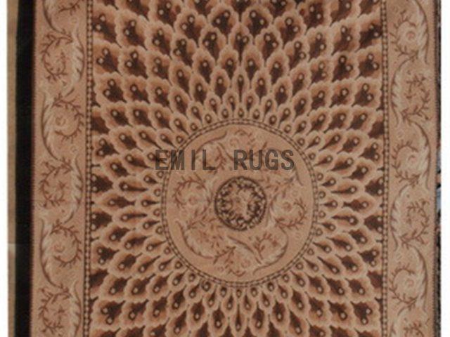 flat weave aubusson carpets 6' X 9' Beige Field Beige Border 100% New Zealand wool european handmade