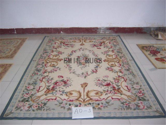 flat weave aubusson rug 6' X 9' Ivory Field Blue Border 100% New Zealand wool european handmade