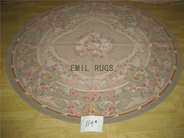 flat weave aubusson rug Round 5' X 5' Ivory Field Gray Border 100% New Zealand wool hand woven