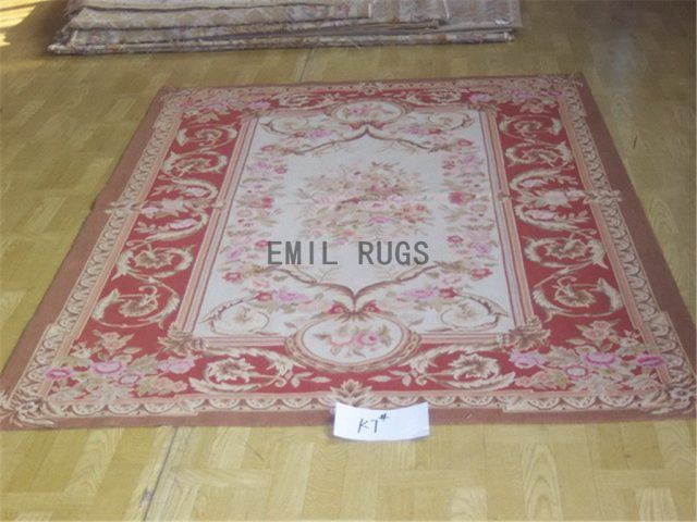 flat weave aubusson carpet 6' X 9' Ivory Field Red Border authentic 100% New Zealand wool french