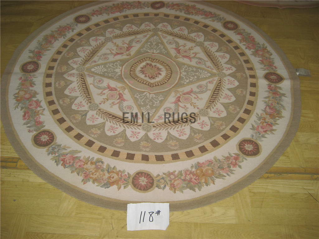 flat weave aubusson rug Round 5' X 5' Ivory Field Gray Border 100% New Zealand wool european handmade