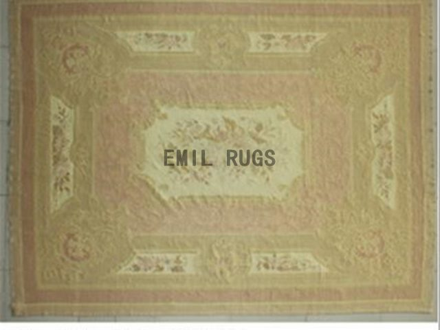 flat weave aubusson carpet 8.2' X 11.3' Pink Field Beige Border 100% New Zealand wool hand woven