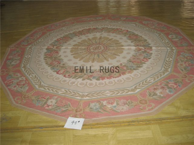 flat weave aubusson carpet Round 8.3' X 8.3' Ivory Field Pink Border 100% New Zealand wool european handmade