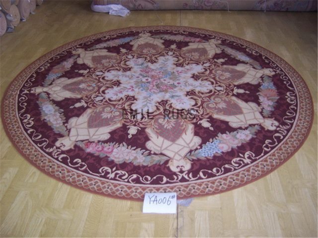 flat weave aubusson rug Round 8.3' X 8.3' Burgundy Field Pink Border 100% New Zealand wool hand woven