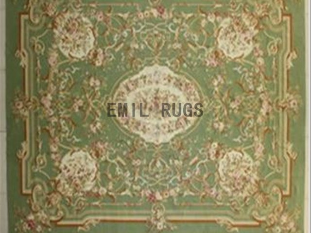 flat weave aubusson rug 8.7' X 11.8' Green Field Green Border 100% New Zealand wool european handmade