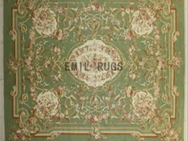 flat weave aubusson rug 8.7' X 11.8' Green Field Green Border 100% New Zealand wool european handmade