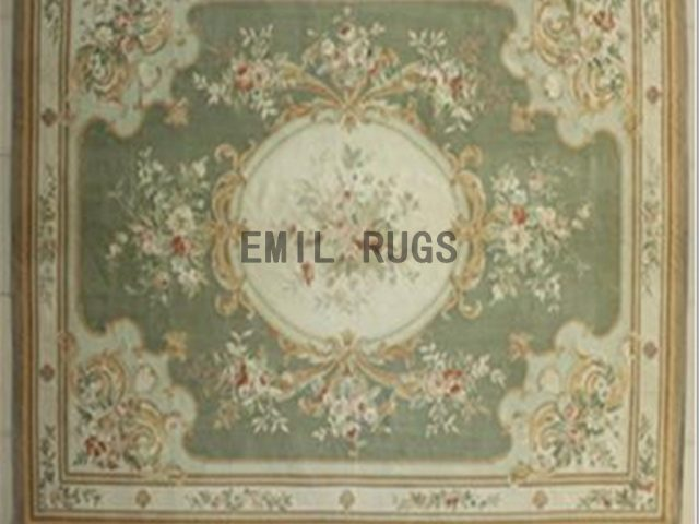 flat weave aubusson rugs 8.7' X 11.8' Green Field Ivory Border 100% New Zealand wool european handmade