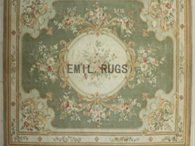 flat weave aubusson rugs 8.7' X 11.8' Green Field Ivory Border 100% New Zealand wool european handmade