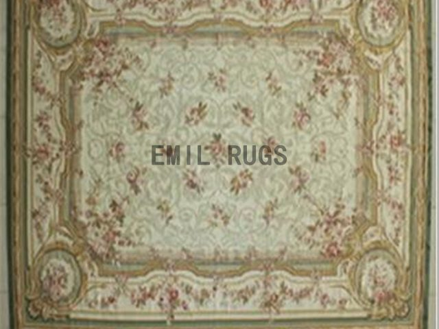 flat weave aubusson rugs 8.7' X 11.8' Ivory Field Ivory Border authentic 100% New Zealand wool french