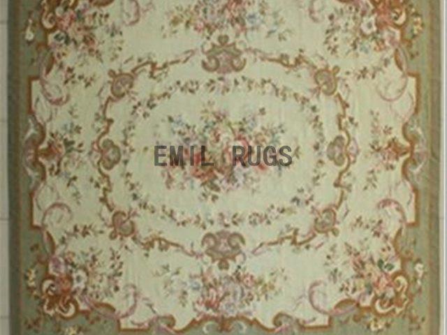 flat weave aubusson rug 8' X 10' Ivory Field Green Border 100% New Zealand wool hand woven