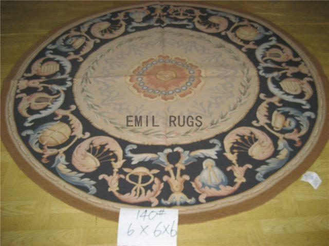 flat weave aubusson carpets Round 6' X 6' Ivory Field Black Border 100% New Zealand wool hand woven