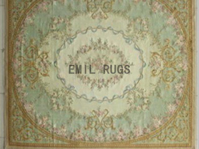 flat weave aubusson rug 8' X 10' Ivory Field Green Border 100% New Zealand wool european handmade