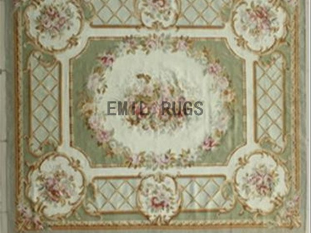 flat weave aubusson carpets 8' X 10' Ivory Field Green Border authentic 100% New Zealand wool french