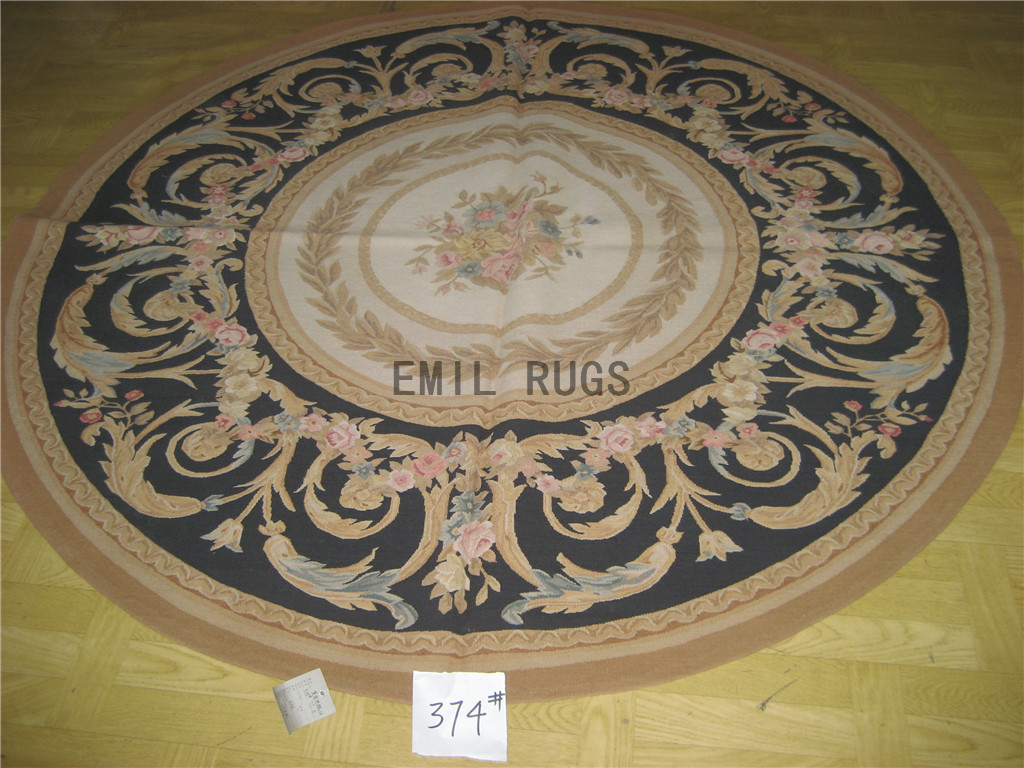 flat weave aubusson rug Round 6' X 6' Ivory Field Black Border 100% New Zealand wool hand woven