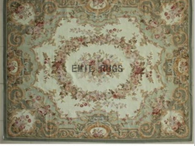 flat weave aubusson carpet 8' X 10' Ivory Field Green Border 100% New Zealand wool european handmade