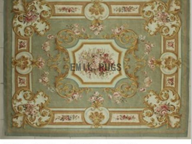 flat weave aubusson carpets 8' X 10' Green Field Ivory Border 100% New Zealand wool hand woven