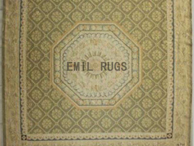 flat weave aubusson carpet 9.6' X 9.7' Beige Field Beige Border 100% New Zealand wool european handmade