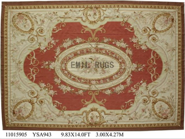 flat weave aubusson carpet 9.9' X 13.8' Red Field Ivory Border 100% New Zealand wool hand woven