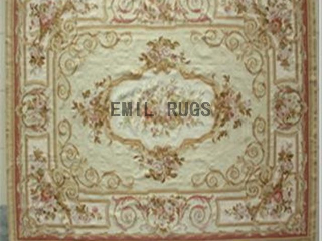 flat weave aubusson carpets 9.9' X 13.8' Ivory Field Ivory Border authentic 100% New Zealand wool french