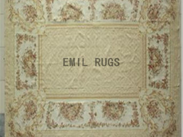 flat weave aubusson rug 9.9' X 13.8' Ivory Field Ivory Border 100% New Zealand wool european handmade