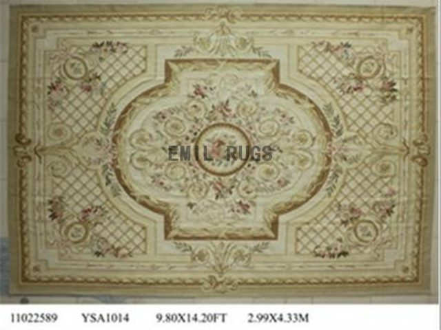 flat weave aubusson carpet 9.9' X 13.8' Ivory Field Ivory Border 100% New Zealand wool hand woven